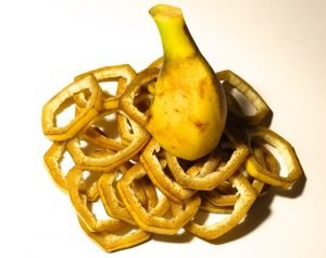 Chopped up banana peel